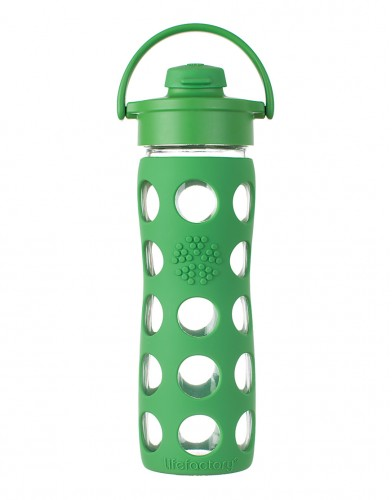 16oz glass bottle, with flip top in grass green